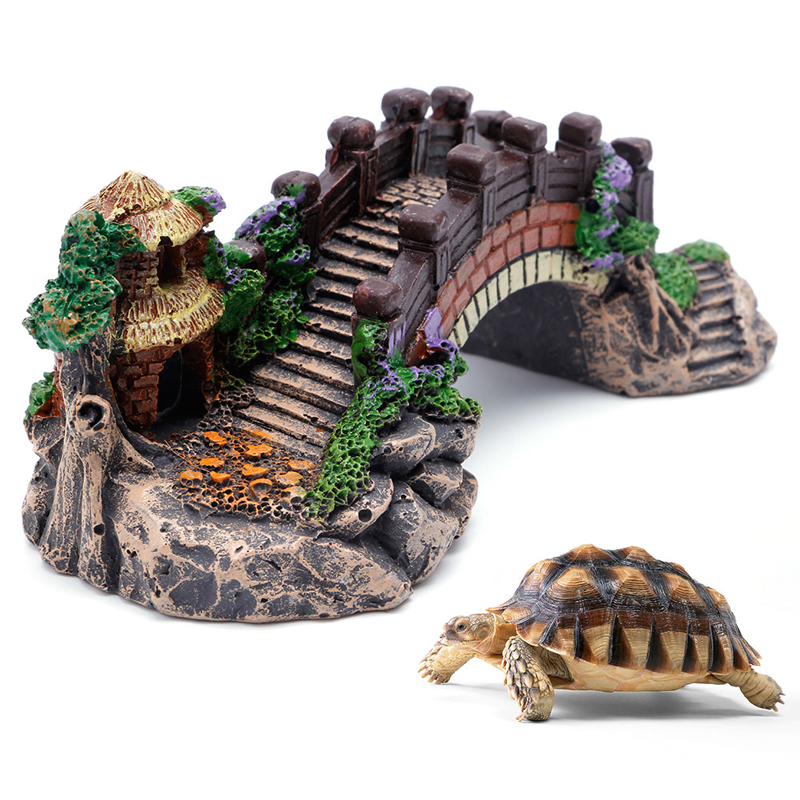 1pc wood color fish tank bridge landscape ornaments for Aquarium bridge decoration