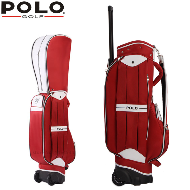 POLO  Authentic Golf Standard Packages Bag Pulley Drawbars Travel Professional Lady Rod Bag Standard Cue Packages Nylon with PU 2017 large capacity waterproof nylon golf boston bag travel clothing bag with separate golf shoes bag embroidery logo