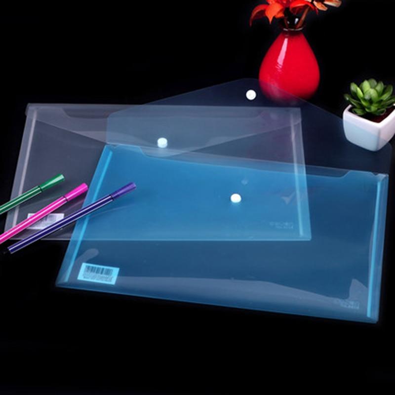 6pcs/lot Office A4 File Bags Transparent Plastic File Document Bag PVC School File Folders A4 Folder For Papers