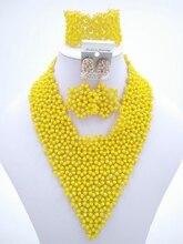 2016 Moda de Nigeria Boda perlas africanas joyería conjunto amarillo Crystal collar de la Joyería Nupcial fija El Envío libre OK-285