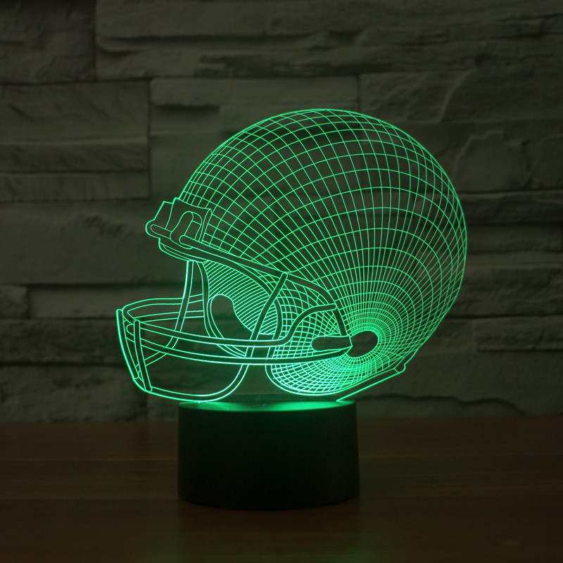 Football helmet colorful acrylic lamp touch round bottom visual stereo light gradient 3D lamp Nightlight gift