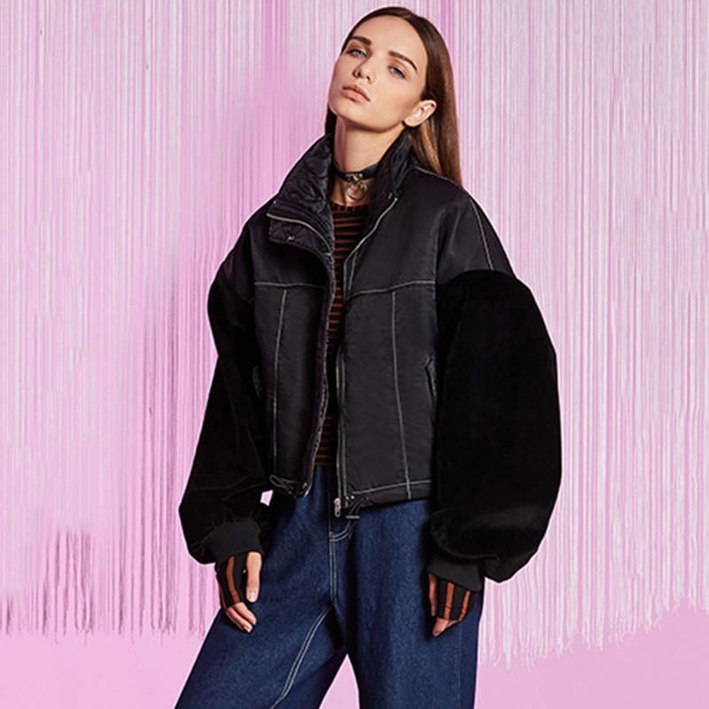 Women Streetwear Jacket Color Block Letter Print Thick Casual Loose Motorcycle Jacket Coat Long Lantern Sleeve Oversize Jacket