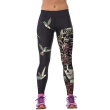 2017 Women High Waist Fitness  Pants 3D Printed Stretch Fitness Leggings