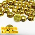 Gold Hematite Color 1.5mm~12mm All Size Choice Flat back ABS round Half Pearl beads, imitation plastic Gold half pearl beads