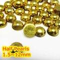 Oro Color de Hematita 1.5mm ~ 12mm Todo el Tamaño Bien Escogido de la parte posterior Plana ABS ronda la Media Perla de perlas, imitación de plástico media perla de los granos de Oro