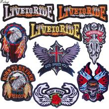 DIY Biker Patches Embroidered Iron on For Clothing Military Badges Motorcycle Patch Stripes On Clothes F