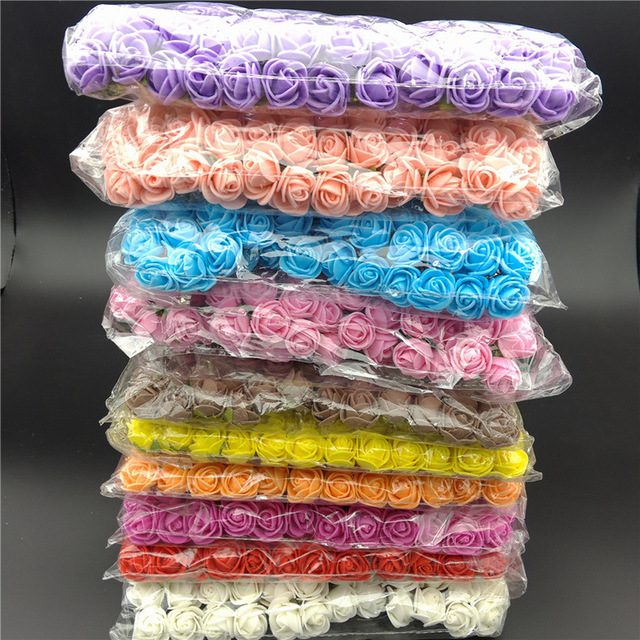 144 PCS Artificial Foam Rose Multicolor PE Flowers Head DIY Parts Hair Band Ornaments wreath Wedding Simulation Garland
