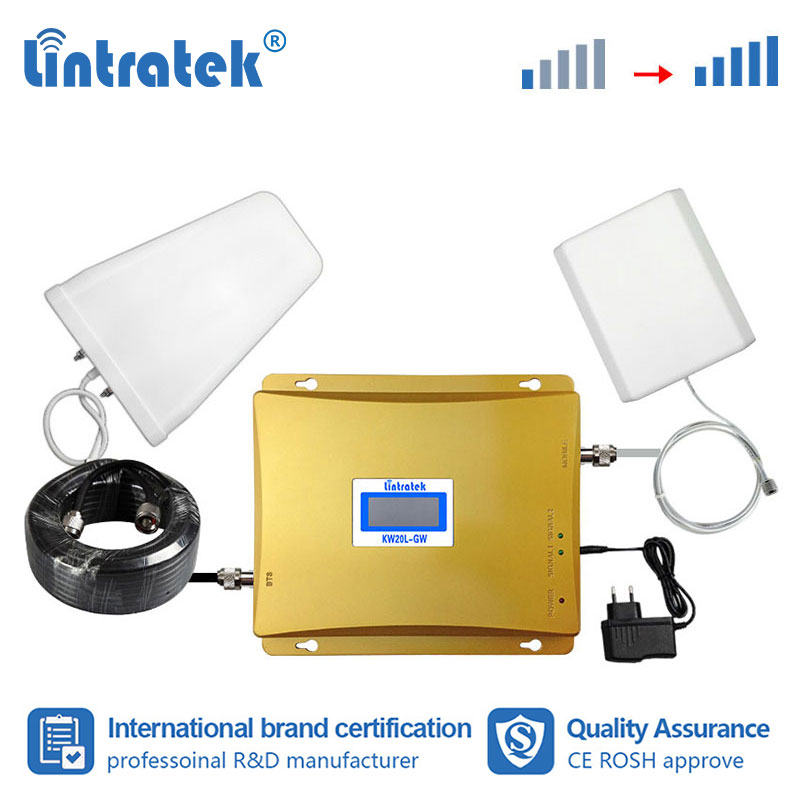 Lintratek Free Shipping 2G 3G Repeater GSM 900 WCDMA 2100mhz Double Band Mobile Phone Signal Booster