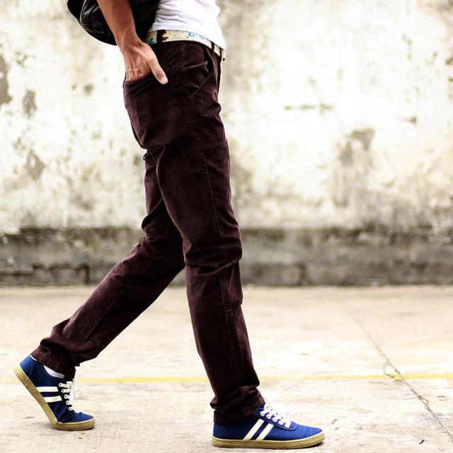 2016 Nova psntd grossas de inverno dos homens de veludo sólida casuais calças retas calças de veludo cotelê fino café preto verde tamanho 38