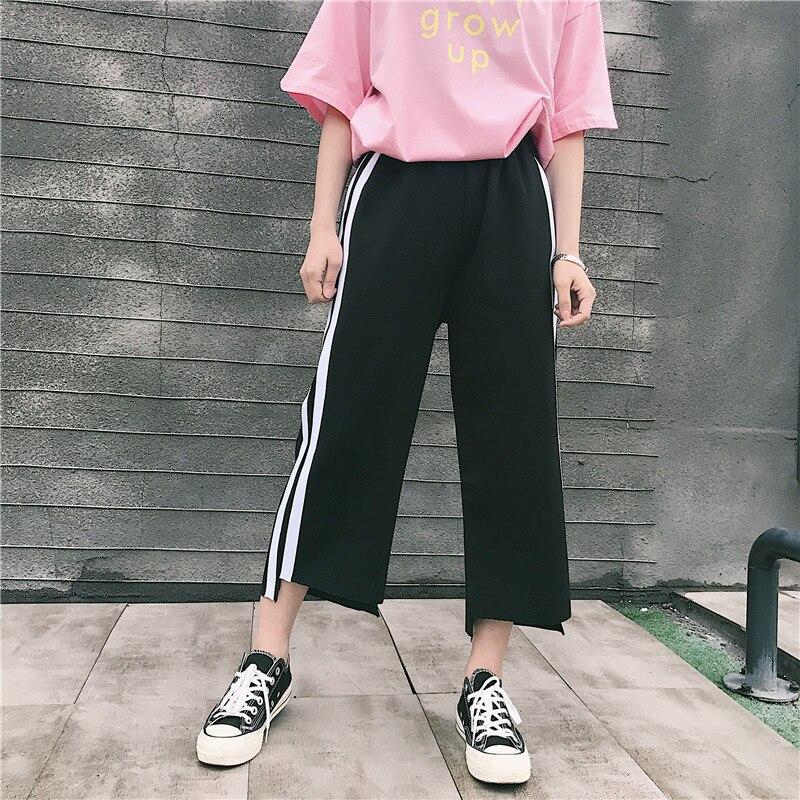 2018 Fashion   Wide     Leg     Pants   Women Harajuku Korean Style Casual Ankle Length   Pants   Side Striped Drawstring Loose Thin Trousers