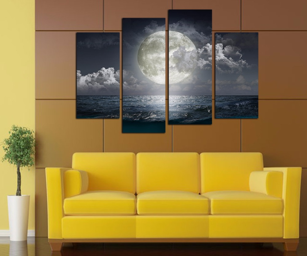 4 Panels Large Canvas Wall Art Seascape Canvas Prints Full Moon ...