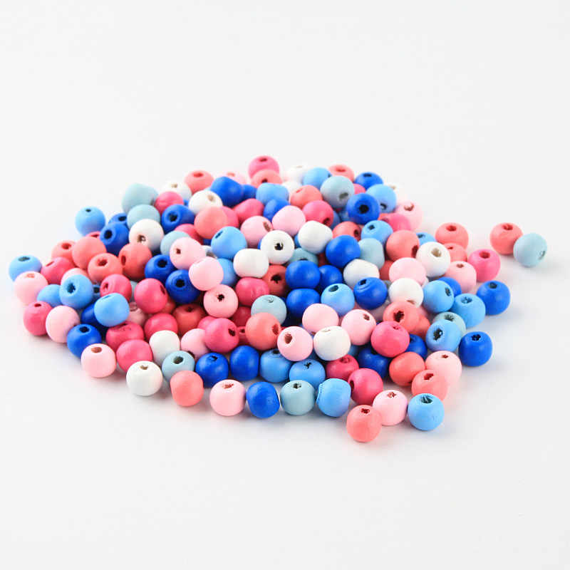 Handmade 8 10mm DIY Small Wooden Beads 100/200pcs Round Shape Wood Beads for jewelry Making Rattle Pacifier Clip Accessories