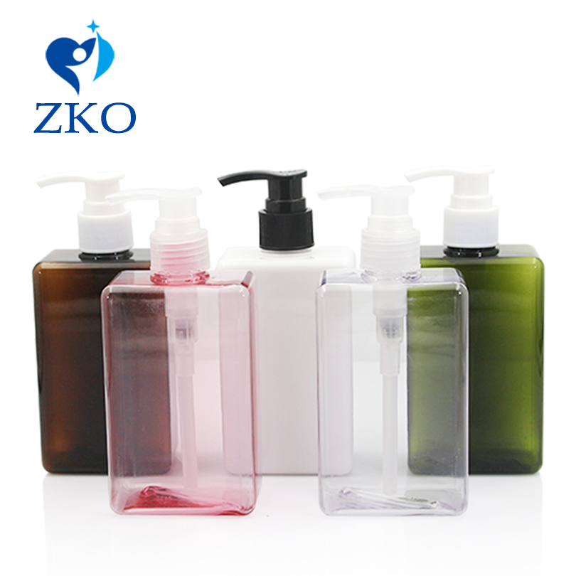 1 Pcs Free Shipping 300ml Square Shape PETG Bottle With Cosmetics Hand Lotion Pump Shampoo Lotion Pump Emulsion Bottle