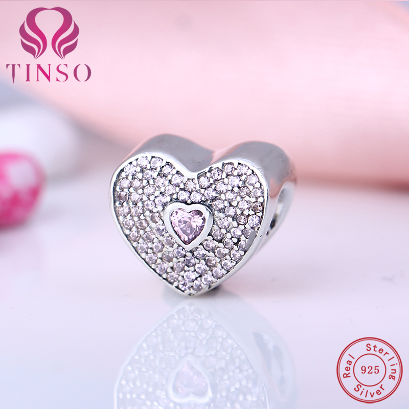 100% Real 925 Sterling Silver Sweetheart Fancy Beads Fit for Original Charms Pandora Bra ...