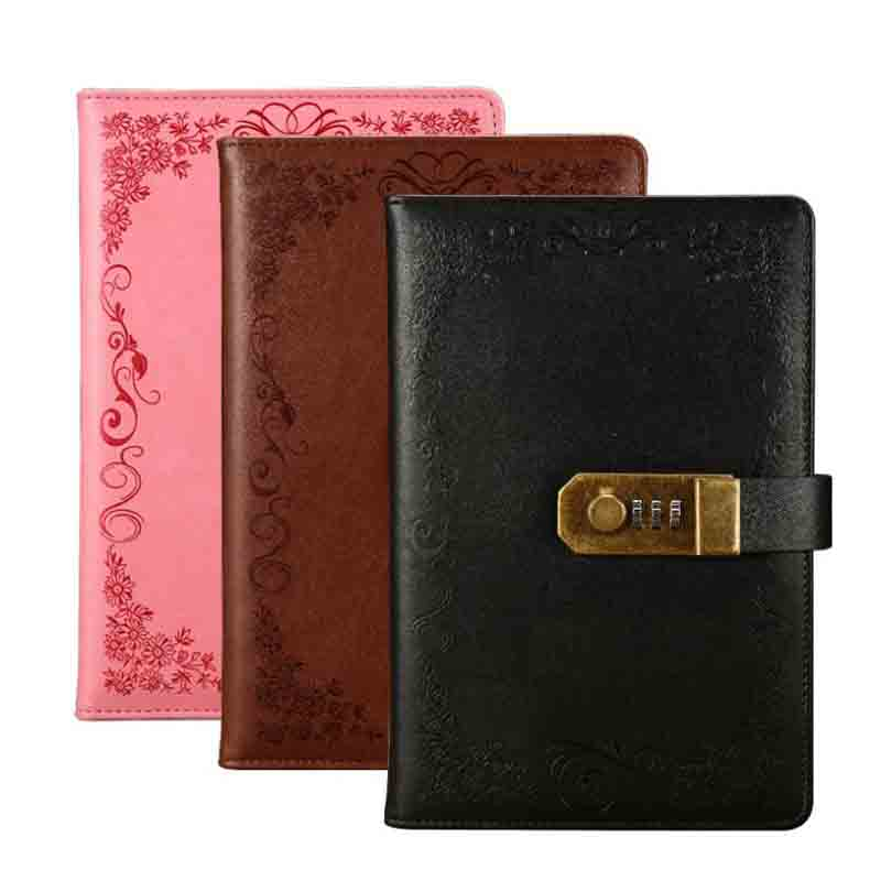 A5 Notebook Diary With Lock School Vintage Lockable Paper PU Leather Note Book Traveler Journal Weekly Planner Stationery Gift