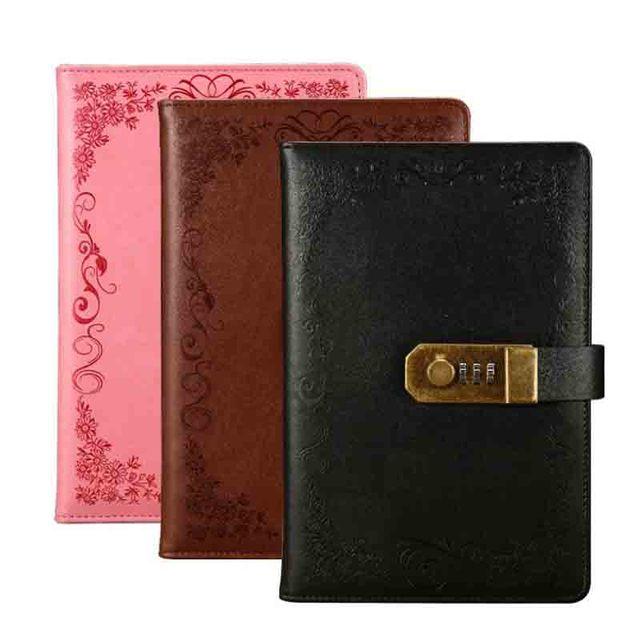 A5 notatnik pamiętnik z zamkiem szkoła Vintage zamykany papier PU skórzany zeszyt dziennik podróżnika terminarz tygodniowy prezent papierniczy