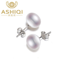 ASHIQI 100% Natural Freshwater Pearl Earrings, Real 925 Sterling Silver Stud earring  7-11mm Pearl jewelry supplier For women(China)