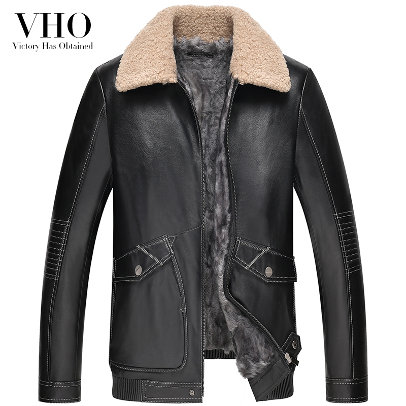 VHO new fashion genuine leather jacket outerwear flight suit wool men's fur one short genuine leather coats shearling