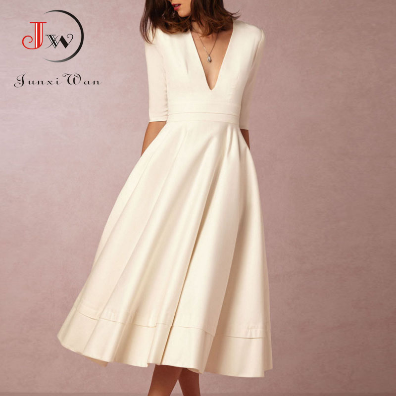 Deep V Neck Sexy Long Party Dress Women Half Sleeve White Elegant Office Work Dress Plus Size S~3XL Vintage A-line Dresses