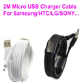 White and Black 2M Micro USB cable Fast Charging Data Charger Mobile Phone Cable For Samsung galaxy S6 S3 S4 For HTC For Sony