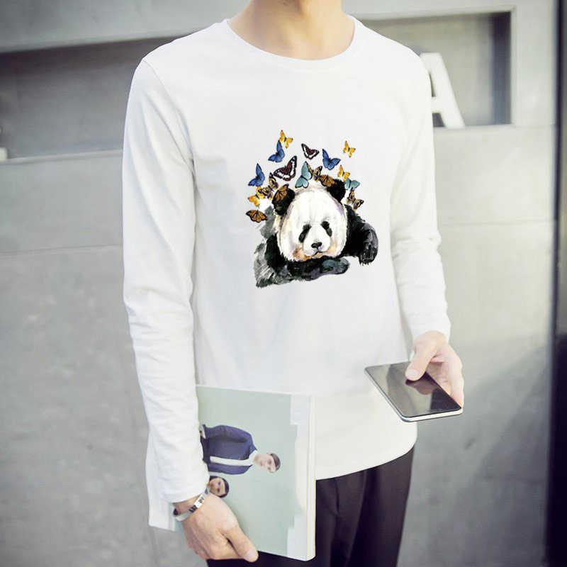 Prajna panda com borboleta remendo ferro no hippie dos desenhos animados transferência de calor gato quente vinil adesivos passar roupas imprensa