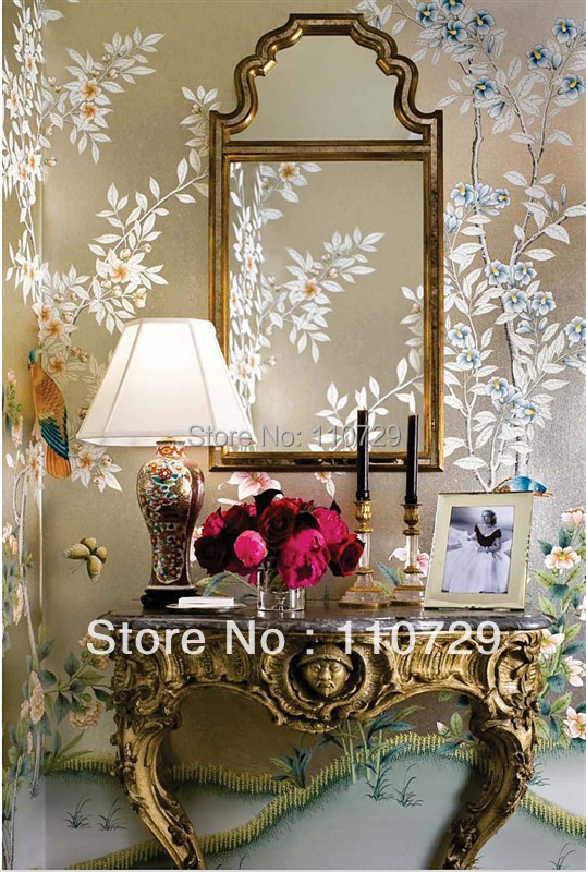Hand painted gold/silver foil wallpaper painting flowers/birds hand-painted TV/Sofa/porch/living/bedroom background wall paper porcelaine czech gold hand поднос сакура porcelaine czech gold hand s r o 30х25 см