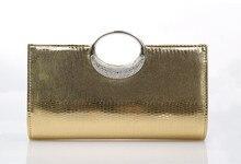 Frauen Glänzenden Strass Kupplung Bankett Tasche Modekette Handtaschen Pu-leder Abendgesellschaft Tasche