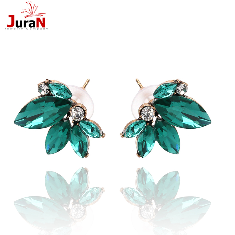 JURAN Cute Romantic Crystal Earring Statement 2019 Pink Gem Beads Sweet Stud Earrings For Women Party Wedding Wholesale F2409