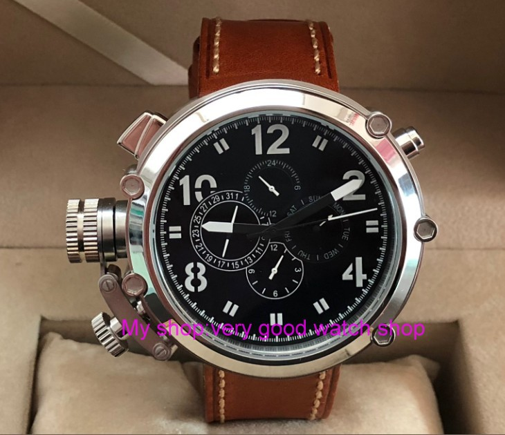 50mm parnis black dial Left hand type Automatic Self-Wind movement multi-function luminous Men's watches pa64-p8