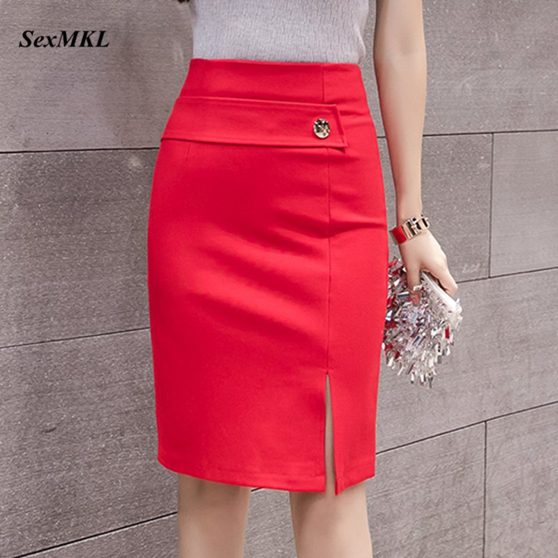 SEXMKL Women High Waist Red Skirt 2019 Korean Fashion Winter Sexy Skirts Formal Office Lady Black Mini Pencil Skirt Plus Size
