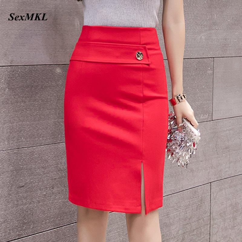 SEXMKL Women High Waist Red Skirt 2020 Korean Fashion Winter Sexy Skirts Formal Office Lady Black Mini Pencil Skirt Plus Size