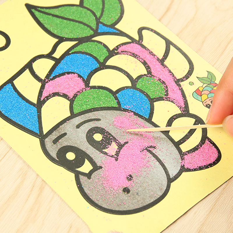 10pcslot:  10pcs/lot Colored Sand Painting Drawing Toys Sand Art Kids Coloring DIY Crafts Learning Education Color Sand Art Painting Cards - Martin's & Co
