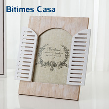 Bitimes Vintage Wood MDF Photo Frame With Window Home Decoration Family Mini Picture Frames Home Art Decor