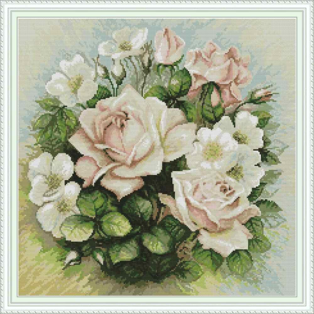Розовый цветок розы Набор для вышивки крестиком aida 14ct 11ct Печать на холсте Вышивка крестом рукоделие DIY Ручная работа