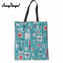 NoisyDesigns Women Supermarket Linen Shopping Tote Bags Funny Dentist Equipment Print Casual Eco Reusable Travel Beach Bag