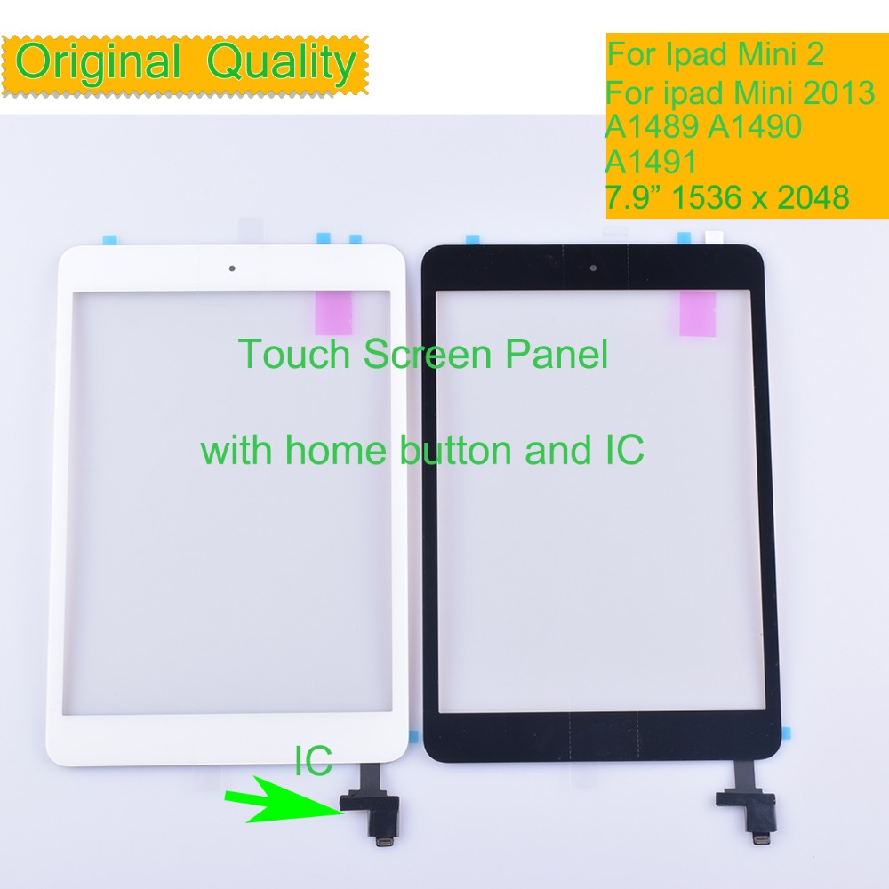 10Pcs/lot Original For Apple <font><b>Ipad</b></font> <font><b>Mini</b></font> <font><b>2</b></font> 2013 Touch Screen Digitizer <font><b>LCD</b></font> Front Panel <font><b>A1489</b></font> A1490 A1491 Touchscreen With IC image