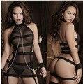 2016 Nova SM Lingerie Sexy Halter Peito Exposto Teddy Fantasias Sexy Erotic Lingerie Langerie Cadeia Vestido de Noite Traje BodySuit