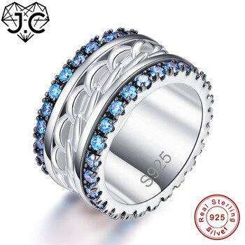 5cbc68c5aba1 J.c compromiso corte redondo rubí y blanco y Topacio azul sólido 925 anillo  de plata esterlina tamaño 6 7 8 9 para mujer amante Joyería fina regalos