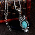 Fashion Delicate Tibetan Silver Cute Owl Small Pendant Long Chain Necklace Women's Trendy Sweater Decoration Accessory