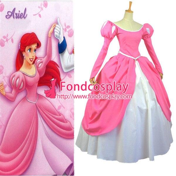 Free Shipping Beautiful Pink Princess Ariel Dress Cosplay Costume Custom-made