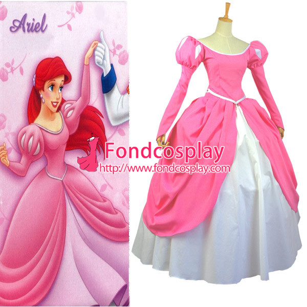 Free Shipping Beautiful Pink Princess Ariel Dress Cosplay Costume Custom-made