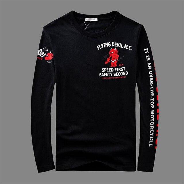 Black Men T-shirt Long Sleeve 100% Cotton motorcycle printing tops tees Plus big Size High Quality Street Hip-Hop men Clothing
