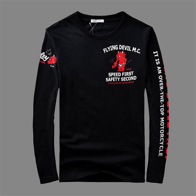 Negro Hombres Camiseta de Manga Larga 100% Algodón de la impresión de la motocicleta tops tees Más El Tamaño grande de Alta Calidad Calle Hip-Hop de los hombres la Ropa