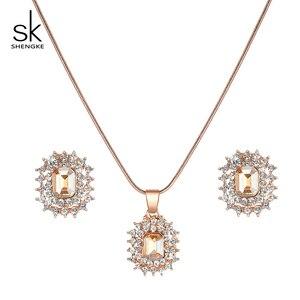 Image 4 - Shengke Rose Gold Creative นาฬิกาควอตซ์ผู้หญิงต่างหูสร้อยคอ 2019 SK Ladies นาฬิกาชุดเครื่องประดับหรูหราของขวัญ Relogio Feminino