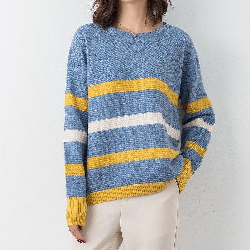DSANNINGT vente chaude nouveauté pull en laine pour femme pull à col rond en tricot pull en cachemire cultivant sauvage