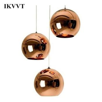 현대 간단한 구리 거울 공 펜 던 트 램프 유리 조명 다이닝 룸 레스토랑 어린이 방 펜 던 트 램프