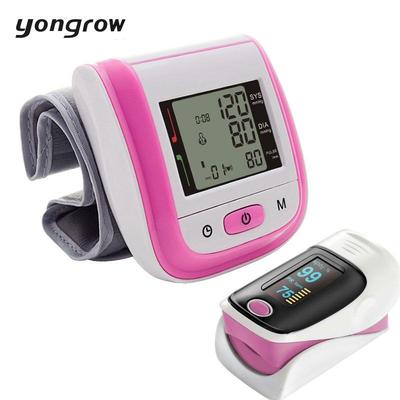 Yongrow Wrist Blood Pressure Monitor Sphygmomanometer Oximetro Finger Pulse Oximeter De Pulso Dedo SpO2 Saturation Meter Pulse pc 60b5 oximetro de dedo pulse oximeter blood saturometro monitor spo2 pr oximetro de pulso portable pulsioximetro