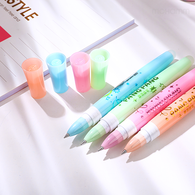 3 Pcs/lot 0.5mm Cute Kawaii Aihao Eraserble Gel Pens Black Blue Ink With Gel Pen Erasers Kids School Office Supplies Stationery