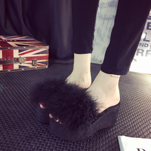 Fur Slide Flip Flops Women Ostrich Feather Home Slippers Female Sweet Fenty 5 cm Wedges Sandals Beach Pantufa Platform Casual