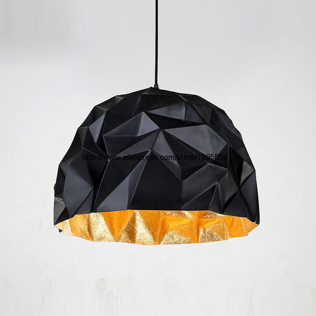 Wrinkle Post Modern Pendant Light Fixture Black Polyhedron Restaurant Hanging Lighting Dia 40 50cm